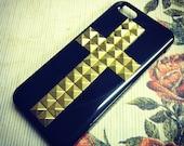 iPhone 5 Steampunk Black Cross Studded case