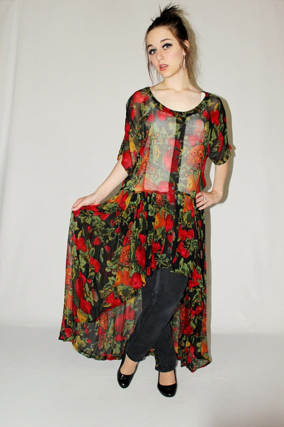 Upcycled Sheer Floral Grunge High-Low Fishtail Dress