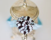 Blue and Brown Fabric Flower Rosette with Blue Headband