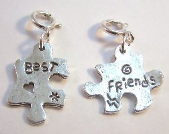 Set of Two Pewter Best Friends Charms-Fits European and Traditional Charm Bracelets - 5055