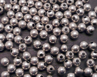6mm Nickel Plated Brass Round Beads 1mm hole 200 pack