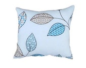 Jane Churchill - Blue, beige, brown and aqua leaf embroidery on white linen Pillow