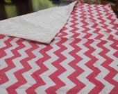 Reserved - Pink Chevron Minky Blanket Set