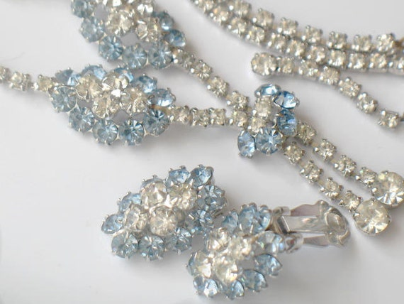 Vintage 1950s Rhinestone Set Blue and Crystal Demi Parure Necklace and Earrings High Fashion Jewelry Silver Bridal Wedding