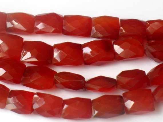 "AAA Carnelian Faceted Rectangle Beads Designer Red Orange Gemstone For Handmade Jewelry Full 14.5"" Strand 8x10 to 9x13 Spring Summer"
