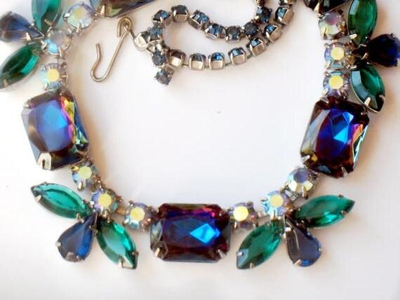 Juliana Watermelon Necklace Purple Blue Rhinestone Aurora Borealis DeLizza and Elster High Fashion Vintage Jewelry RESERVED SALE PENDING