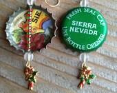 Red and Green Sierra Nevada Bottle Cap Earrings - Ready for Christmas