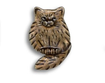 Enamel Topaz Fat Cat Pin