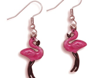 Enamel Pink Flamingo Earrings