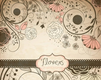Vintage flower Clip Art, floral border - Clipart for scrapbooking, wedding invitation cards, black&white, Personal and Small Commercial Use.