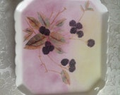 Hand painted ceramic dish- painted with a blackberry motif in  Autumnal  colours