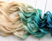 """Mermaid Blonde Ombre, Lightest Blonde, Blonde Hair Pastel Blue faded into Ocean Blue, 7 Pieces, 20"""", Customize your base"""