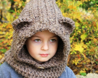 Crochet  Bear hat.Hooded cowl hat.Made to order.