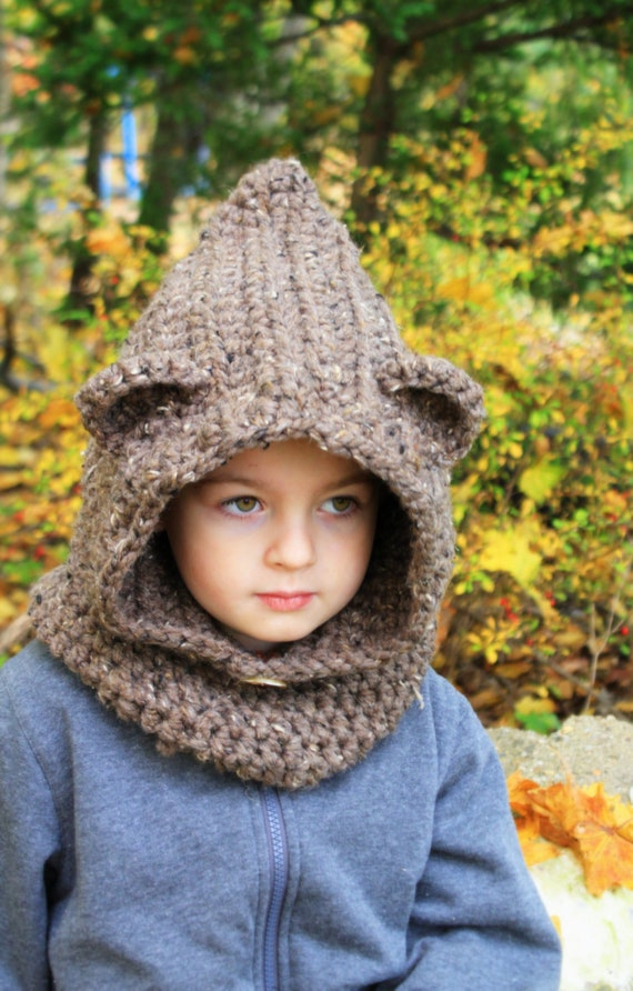 Crochet Baby Bear Cowl Pattern : Crochet Bear Hooded cowl hat Cowl.Made to order.Color Barley.