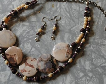 Purple stones necklace and earrings