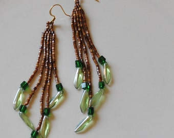 Brown and green brick stitch earrings