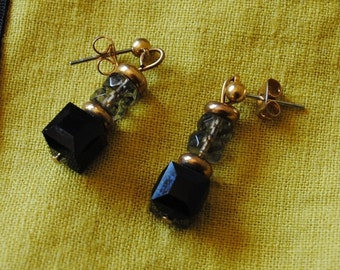 Jet and black diamond cube earrings