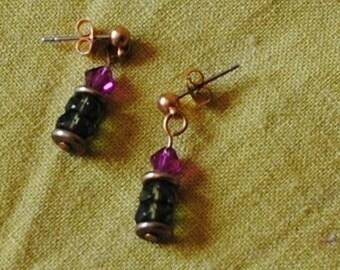 Olivine and fuschia earrings