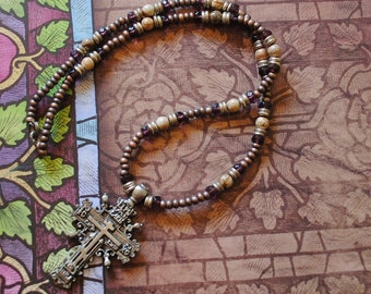 Purple and jasper cross necklace