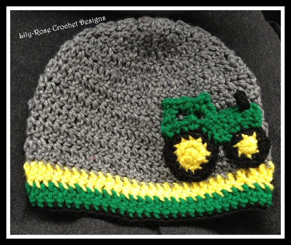 crochet beanie John Deere hat tractor Newborn 0 3 6 months ...