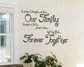 A Circle Strength and Love Our Family Faith Inspirational Quote Lettering Decor Sticker Art Mural Vinyl Large Wall Decal Decoration IN53