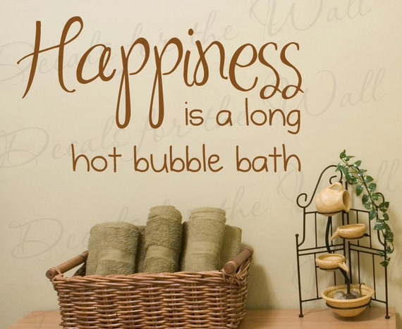 Bathroom Lettering Decor : Items similar to happiness long hot bubble bath bathroom