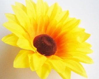 12 Yellow Sun Flower Head - Artificial Silk Flower - 3.5 inches - Wholesale Lot - for Wedding, Make Hair clips, headbands