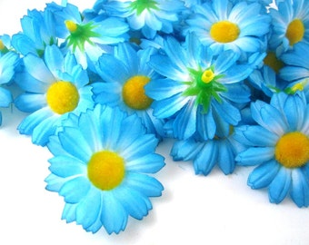 100 Blue Gerbera Daisy Heads - Artificial Silk Flower - 1.75 inches - Wholesale Lot - for Bridal Wedding Home work, Make Hair clips