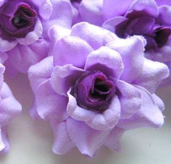 12 Purple mini Roses Heads - Artificial Silk Flower - 1.75 inches - Wholesale Lot - for Wedding Work, Make Hair clips, headbands, hats