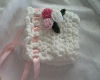 Baby Crocheted Bonnet - Soft Chunky white w/ Pink Flowers