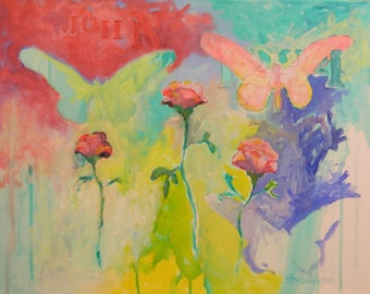 Original Abstract Expressionist Painting with Bible Text ,Roses & Butterfly