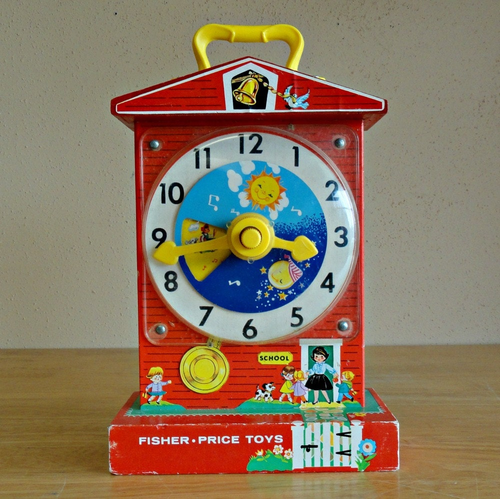 Vintage Fisher Price Music Box Teaching Clock 998