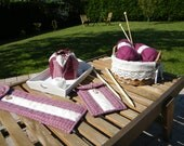 Set : Knitting needle case, crochet case & purse ''Heart''  - MADE TO ORDER