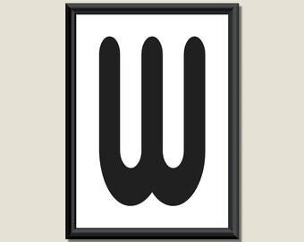 Typography Giclee Print Monogram Initial Wall Art Zarista Letter W