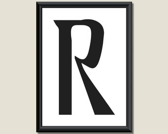 Typography Giclee Print Monogram Initial Wall Art Ariosto Letter R