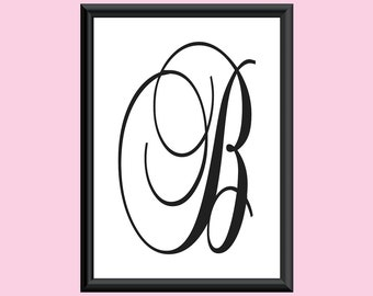 Typography DIGITAL PRINT Monogram Initial Wall Art BrockScript Letter B 5x7
