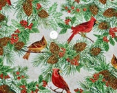 Nature's Holiday Cardinals with Gold - Fabric By The Half Yard 18 inches x 44 inches
