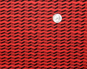 Poppy Lane Red Chevron - Fabric By The Yard