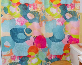 "Shower Curtain / Wall art -  ""Toadstool Heaven"" (Repeated) 70""x74"" (eyelets are not standard size)"