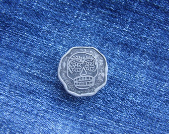 20 Jean Tack Skull Buttons 20mm Pattern Antique Nickel / Silver, NO-SEW