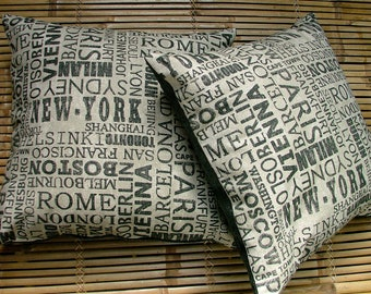 DESTINATIONS - superb quality Cotton/flax/rayon cushion pillow screenprint global cities. Hand sewn 50cm or 20in square.
