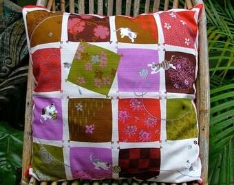 "Hand sewn cushion pillow Japanese pure cotton 'Playful Cats' motif furoshiki & vintage yukata kimono floral fabric 50cm 20"""