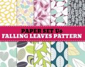 Digital Paper Set U : Scrapbooking Paper and Printable Leaf Pattern