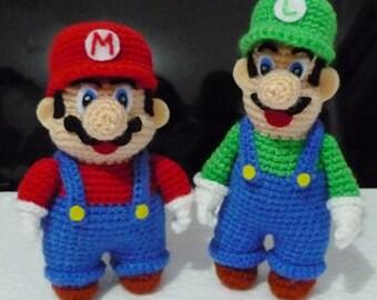 Large Crochet Super Mario and Luigi Amigurumi set of 2- Finish Doll