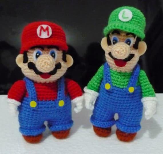 Amigurumi Super Mario Pattern : Large Crochet Super Mario and Luigi Amigurumi di ...