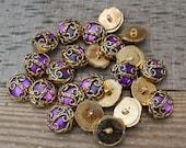 Decorative Purple Buttons with Gold Flourish Vintage