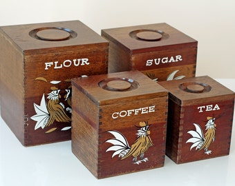 SALE 1960s Rooster Wooden Canisters // 60s Rooster Canister Set