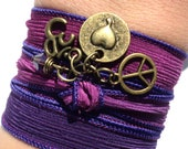 Peace Love Silk Wrap Bracelet Bohemian Yoga Jewelry Om Hippie Stocking Stuffer Unique Gift For Her Stocking Stuffer Under 50 Item P55