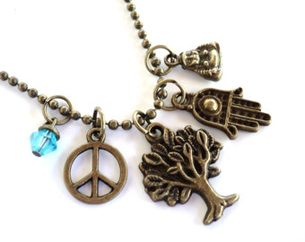 Tree of Life Necklace Hamsa Yoga Jewelry Peace Bohemian Buddhism Fall Unique Gift For Her Under 50 Item T48