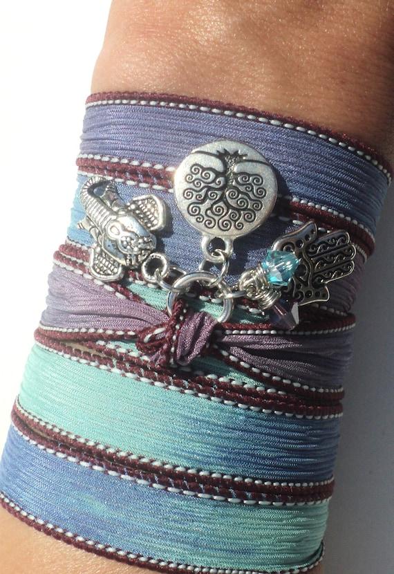 Tree of Life Hamsa Sacred Elephant Silk Wrap Bracelet Yoga Jewelry Spiritual Protection Fall Necklace Blue Unique Gift Under 50 Item Z16